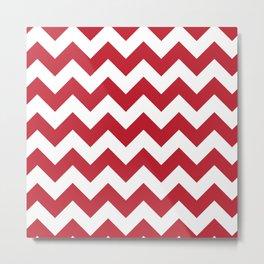 Red and White Bold Chevron Stripes Metal Print