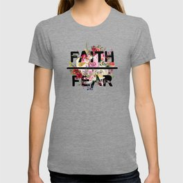 Christian Quote - Faith Over Fear - Cute Floral Watercolor Typography T-shirt