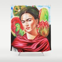 frida kahlo Shower Curtains featuring Frida Kahlo  by Carlos Apartado