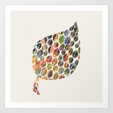 Leafy Palette Ecru Art Print