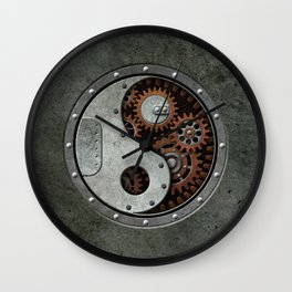 Industrial Steampunk Yin Yang with Gears Wall Clock