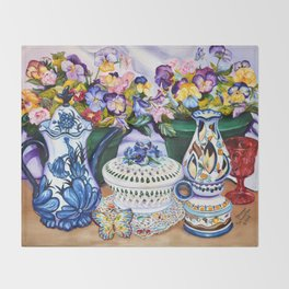 Pansies and Teapot oil Still Life Throw Blanket