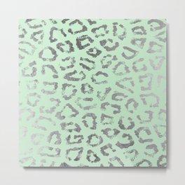 Modern trendy silver neo mint leopard animal print Metal Print
