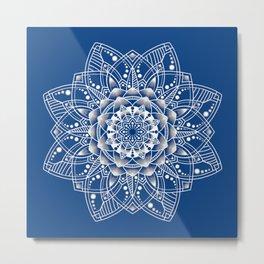 Vibrant Blue Mandala Metal Print