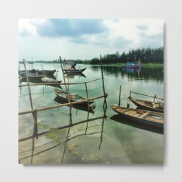 Vietnamese Fishing Boats in the River Metal Print