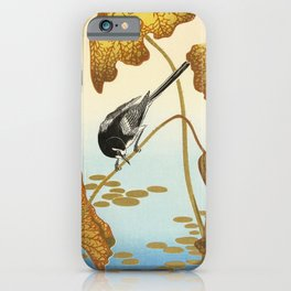 Bird sitting on a lotus plant - Vintage Japanese Woodblock Print Art iPhone Case