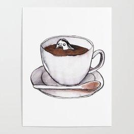 Caffeine addict tea and coffee cup illustration Poster