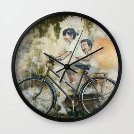 Children Ride Bicycle Graffiti Wall Clock