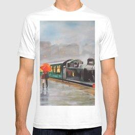 """Let it rain"" Romantic red umbrella painting T-shirt"