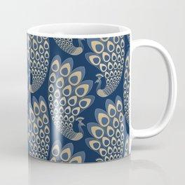 Blue and Gold Art Deco Peakock Coffee Mug