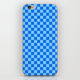 Baby Blue and Brandeis Blue Checkerboard iPhone Skin