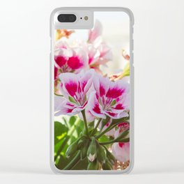 Pink and Red Flowers Clear iPhone Case