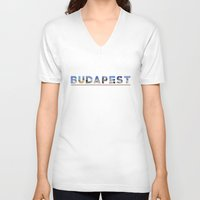 budapest V-neck T-shirts featuring budapest text by tony tudor