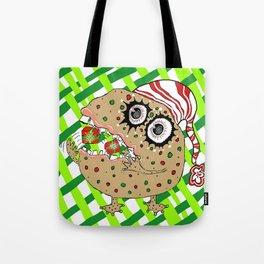 Christmas Fruitcake Monster, green lattice background Tote Bag