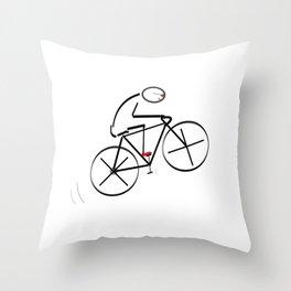 Stylized Bicyclist Throw Pillow