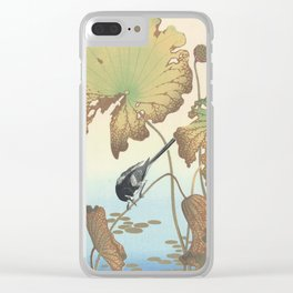 Lotus Plant Japanese Woodblock Print by Ohara Koson Clear iPhone Case