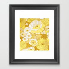 Retro floral sheets yellows Framed Art Print