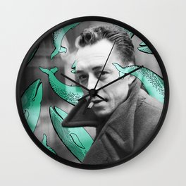 Albert Camus with calm whales Wall Clock