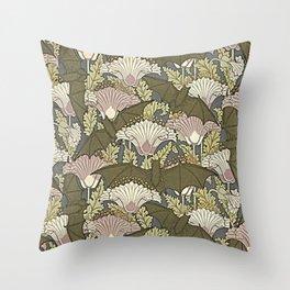 Burgundy Trimmed Art  Nouveau Bats & Poppy Patterns Throw Pillow