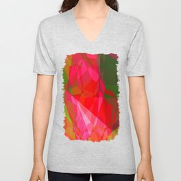 Pink Roses in Anzures 4 Abstract Polygons 3 Unisex V-Neck