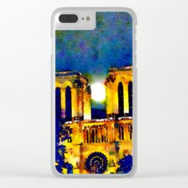 Notre Dame de Paris Full Moon Clear iPhone Case