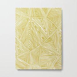 Authentic Aboriginal Art - The Fields (Mustard2) Metal Print