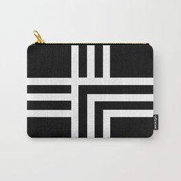 Geometric Swiss Cross (white with black background) Carry-All Pouch