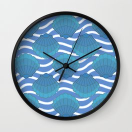 Vintage Seashell And Waves Pattern Wall Clock