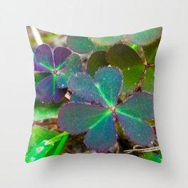 Purple clovers Throw Pillow