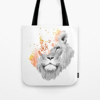 king Tote Bags featuring If I roar (The King Lion) by Picomodi