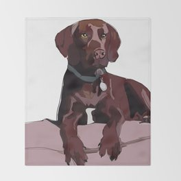 Chocolate Labrador Throw Blanket