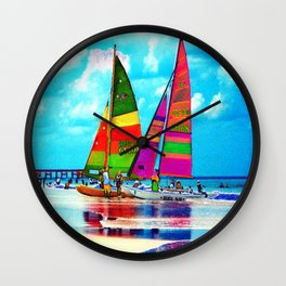 Neon Sailboats -Daytona Beach Wall Clock
