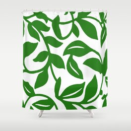 PALM LEAF VINE SWIRL IN GREEN AND WHITE Shower Curtain