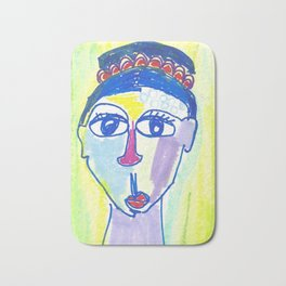 Crazy Face Blue Hair Bath Mat