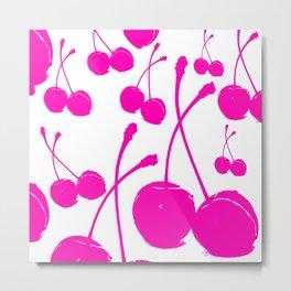 Pink neon Cherry Metal Print