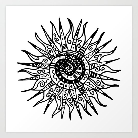Sun Doodle black and white drawing Art Print