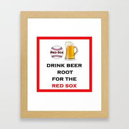 Red Sox Team Baseball Fans Beer Framed Art Print