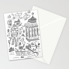cat walking under the moon Stationery Cards
