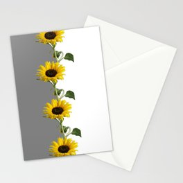 LINEAR YELLOW SUNFLOWERS GREY & WHITE ART Stationery Cards