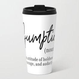 Gumption Definition - Word Nerd - Black Minimalist Travel Mug