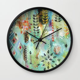 """""""Fly Free Between"""" Original Painting by Flora Bowley Wall Clock"""