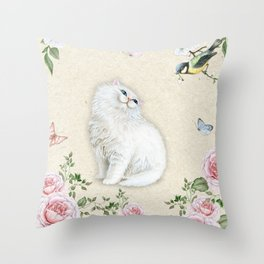 Kitty Welcome Bird #cat #bird #sparrow #society6 Throw Pillow