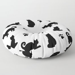 Black Cats and Paw Prints Pattern Floor Pillow