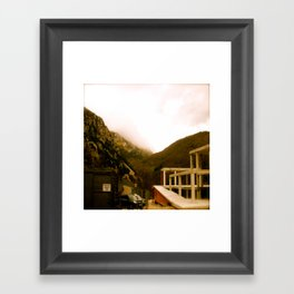 Stand here with the mountain in background Framed Art Print