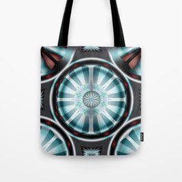Pinwheel Hubcap in Aqua Tote Bag