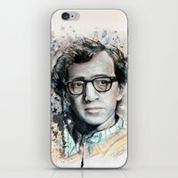 woody allen iPhone & iPod Skins featuring Woody Allen by Denise Esposito