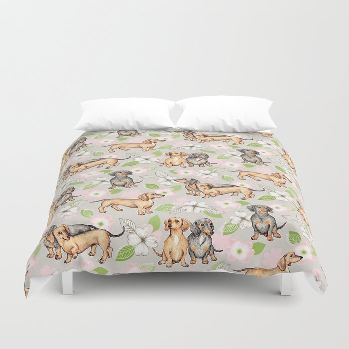 Dachshunds and dogwood blossoms Duvet Cover