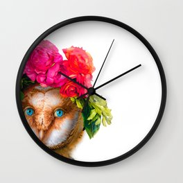 Lady Owl with Head Flowers Bouquet Wall Clock