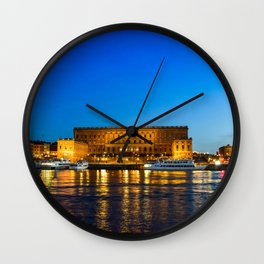 Stockholm Sweden Royal Palace Riverboat Bay Berth Night Houses Cities Pier Marinas night time Building Wall Clock