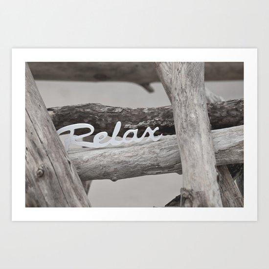 Relax driftwood summer beach Art Print
